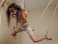 Black rope suspension bdsm Charlie, the